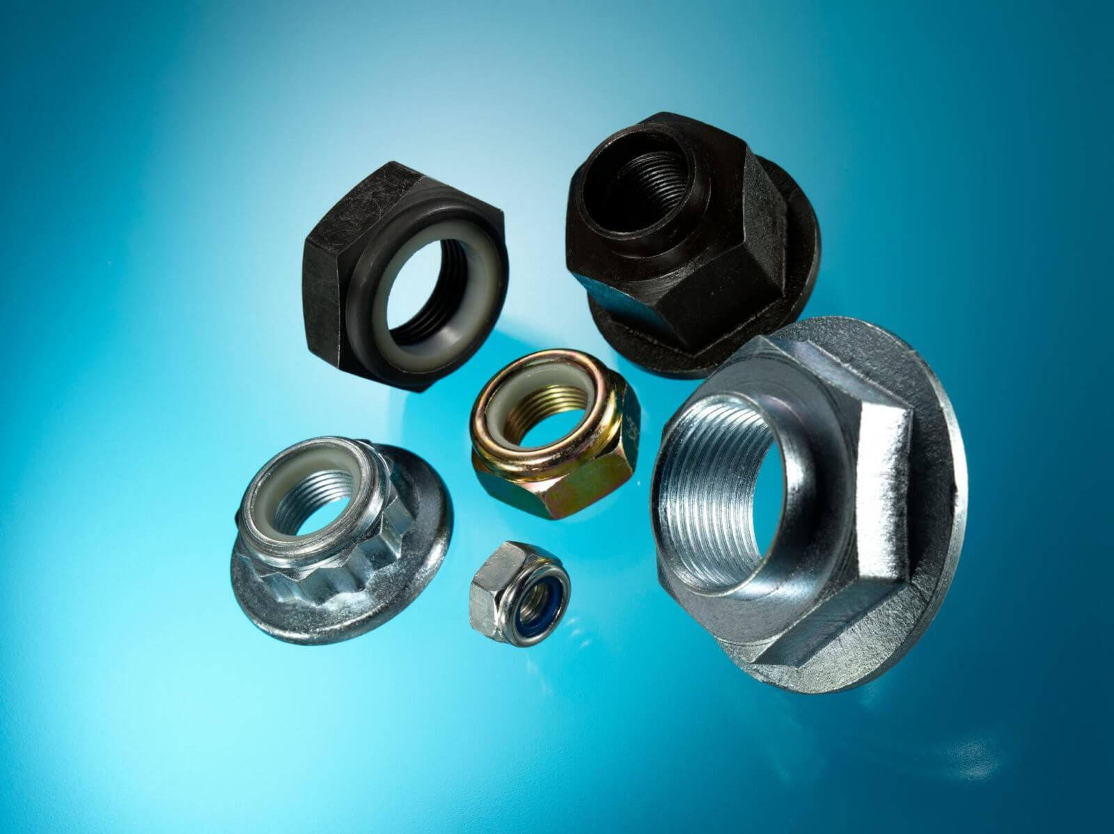 Automotive Parts Nuts. Hex nuts, Flannge nuts, Castle nuts, Self Locking nuts, Captive Washer nuts and Shake Proof nuts.
